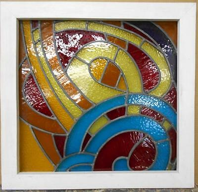 "MID SIZED ENGLISH LEADED STAINED GLASS WINDOW Colorful Abstract 23"" x 22"""