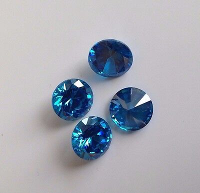 Deep Blue Round Cubic Zircon Loose Lots Wholesale CZ USA 2 -10mm  - AAA