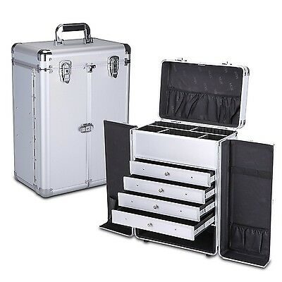 MUA LIMITED Pro Aluminum Makeup Storage Case with Trolley Secure Locking Cosm...