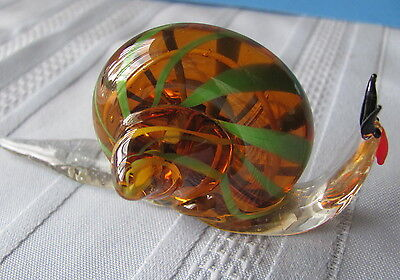 Brown with Green Glass Snail - 4 Inches - NEW