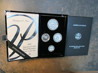 1ST YEAR 1997 American Eagle PLATINUM PROOF 4 Coin SET WIT BOXES AND COA PERFECT