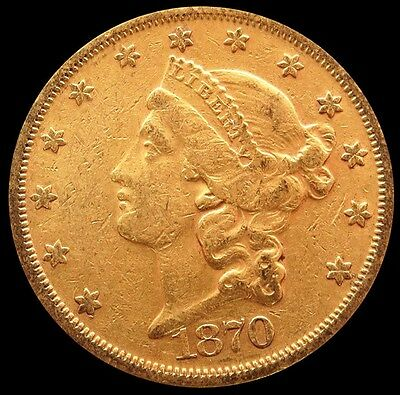 1870 S Gold $20 Liberty Head Double Eagle Type Ii Coin Extremely Fine Condition