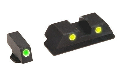 Ameriglo Classic Yellow Green Tritium Night Sight Set For Glock GL-115