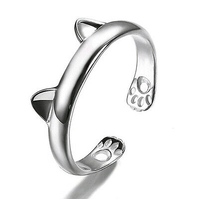 cat claw ear ring 925 Silver Plated women gift jewellery resizeable thumb UK
