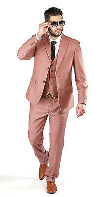 Slim Fit Men Suit Salmon 3 Piece Vested 2 Button Checkered Windowpane Plaid Azar