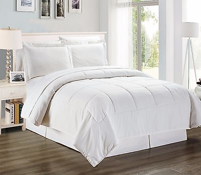 8 Pcs Reversible Wrinkle Free Comforter Set and Sheet Set, White Queen & King