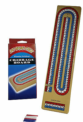 Cribbage Board For 3 Players With Pegs Travel Size New Boxed - Free Shipping *