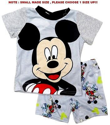 New 1-6 Pyjamas Disney Mickey Mouse Boys Summer Sleepwear Pj Kids Tshirt Top Tee