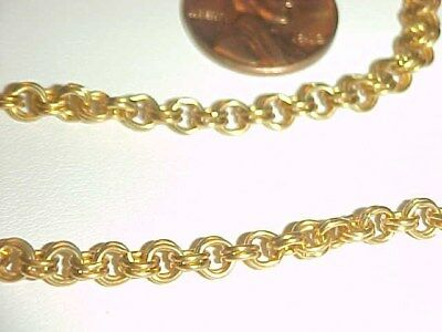 3 FEET VINTAGE SOLID BRASS 4mm. FANCY DOUBLE CABLE CHAIN    L944
