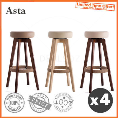 "4 x ""Asta"" Wooden Swivel Bar Stool Kitchen Dining Chairs PU Leather"