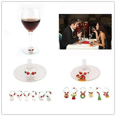 New Mixed Christmas XMAS Wine Glass Marker Charms Ornaments Table Decoration H