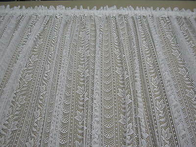3 Mt widths of 213 cm Drop of CREAM LACE CURTAIN ROD POCKET CONTINUOUS OFF ROLL