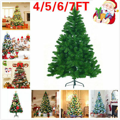 Premium 5ft,6ft,7ft Green Artificial Christmas Tree Pine Metal Stand Tips Spruce