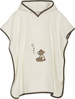 Playshoes Frottee-Poncho, Badeponcho Bär Mit Kapuze, Accappatoio Bambina, Beige