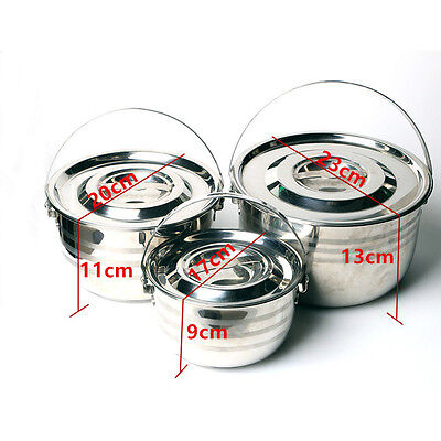 Portable Camping Stainless Steel Outdoor Cooking 3Pcs Pot Set & Lid (17-23cm)