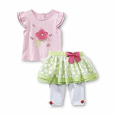 Wonder Kids Baby Outfit T-Shirt + gonna con Leggings pantaloni bimba rosa bianco