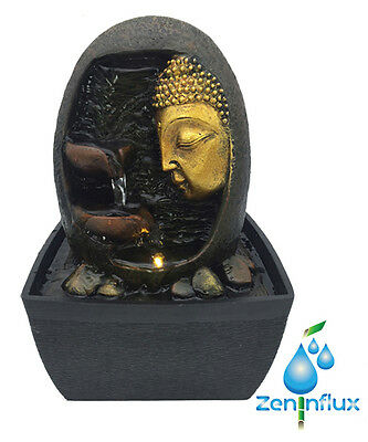 Zeninflux Buddha Face Indoor Fountain, Tabletop Water Fountain Lighting System