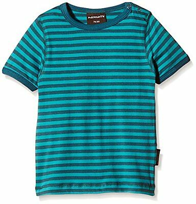 Maxomorra - BASI-M145 Top SS Striped, T-Shirt unisex bimbi, Multicoloured/Petrol
