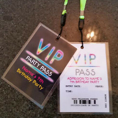 Personalised VIP Neon Glow in the Dark Party Lanyard for Birthday Party Invites