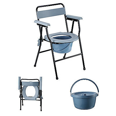 """29.5"""" Folding Commode Chair Toilet Seat with Bucket Adult Potty Handicap Seats"""