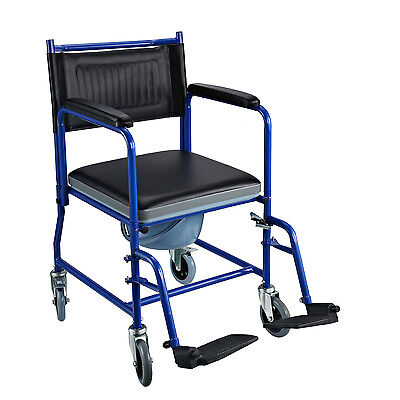HOMOCM Deluxe Transport Chair Commode Mobile Wheeled with Padded Seat Wheelchair