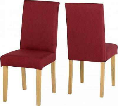 2x Seconique Dorian Dining Chairs - Red Fabric