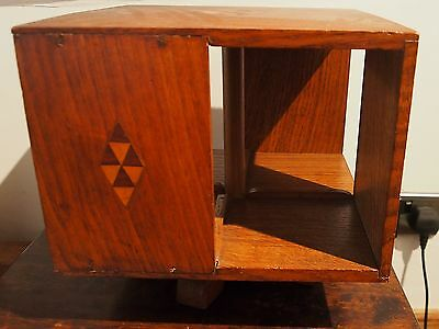 Vintage Oak Revolving Table Top Bookcase - Boxwood Parquetry Panels