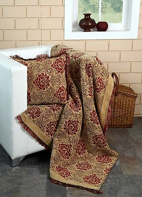 Damask Chenille Jacquard Sofa Throw Arm chair Single Bed Blanket,125 X 150Cms