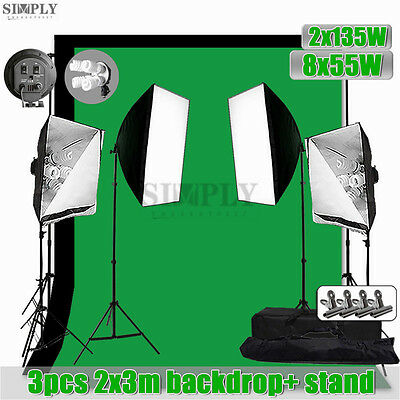 Photography Studio Softbox Soft box Lighting Light Stand Backdrop Support Kit AU