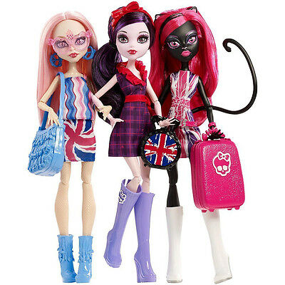 Monster High 3-er Pack Ghoulbrities in Londoom - Catty Noir, Elissabat, Viperine
