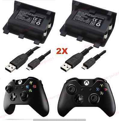 2X Rechargeable Play & Charge 2400mAh Battery Pack For Xbox One Controller Kit