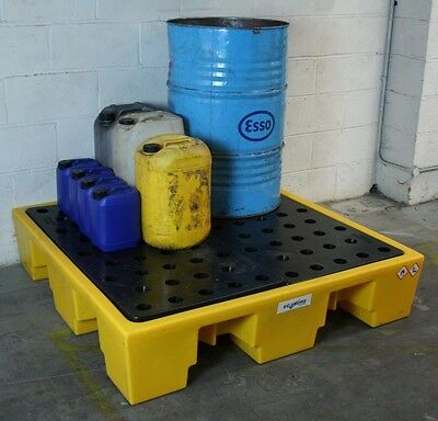 Ecosure 4 Drum Plastic Bunded Spill Containment Sump Pallet with Removable Grid