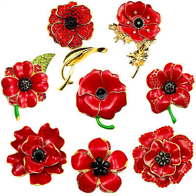 New Large Red Crystal Poppy Pin Brooch Enamel Metal Badge Box Set Gold Uk Seller