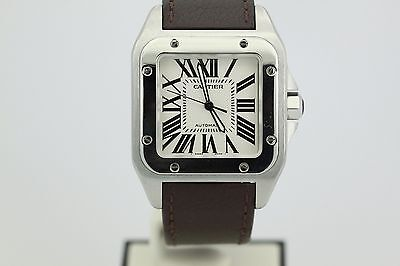 Cartier Santos 100 XL Stainless Steel on Brown Leather Strap on Deploying Buckle