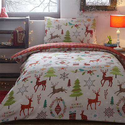 Portfolio Christmas Mid Winter Reversible Duvet Cover Set, Multi