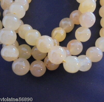 20 PERLES JADE JAUNE PIERRE NATURELLE INDE 8mm NATURAL YELLOW STONE BEADS INDIA