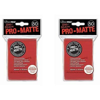 Ultra Pro Matte Card Sleeves 2x(50) - Deck Protector Standard Size - Red