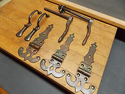 Antique cast brass ice box hardware hinges handles latches