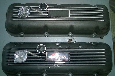 Pair of merCruiser Big Block Chevy BBC Valve Covers, Cast Aluminum, Rat Rod