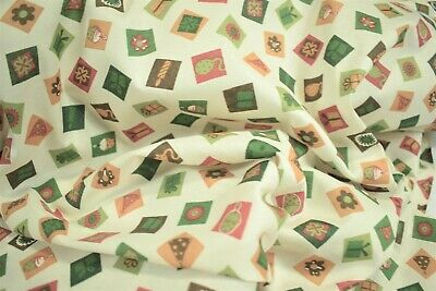 "Christmas Present Print Craft Apparel Quilt Fabric Tree Skirt 45/""W Holiday 12145"