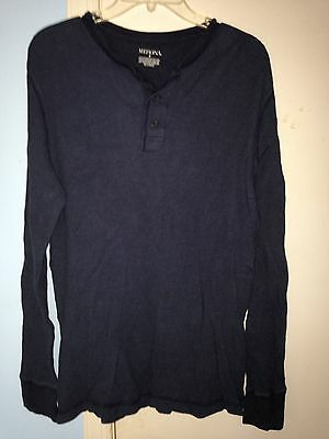 458ad1aaaa76 Men's Sonoma Navy Blue 3-Button Henley Long Sleeve Shirt in Size Medium