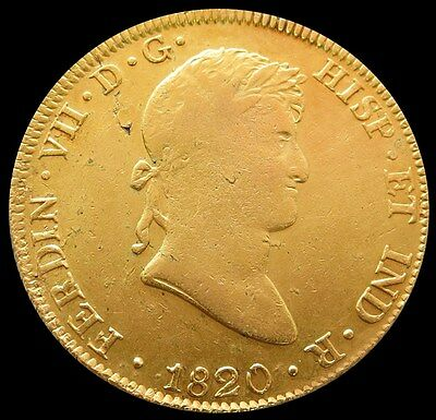 1820 Jp Gold Peru 8 Escudo Lima Mint Vf Details (Cleaned)