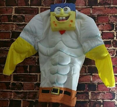 Spongebob Squarepants Movie Sponge Out Of Water Muscle Costume Mask Boys Large