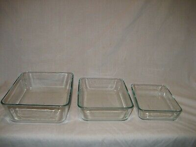 3 Pc Pyrex Rectangle Clear Glass Meat Loaf Bakers Dish (s) 7210 7211 & 7212 USA