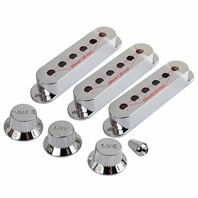 Chrome Single Coil  Pickup Cover Volume Tone Knob Switch Set for ST Strat Guitar