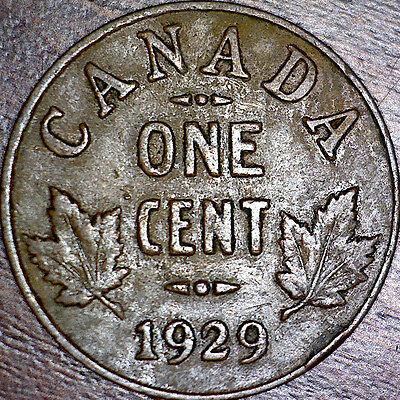 1929 Small Canada one cent Coin George V - Low 9 #2