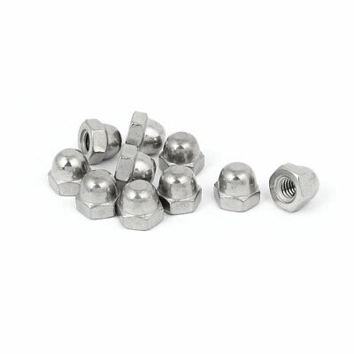 """5/16"""" Thread 304 Stainless Steel Dome Head Cap Acorn Hex Nut Silver Tone 10pcs"""