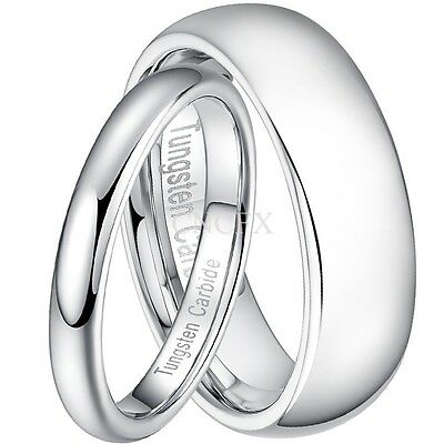 3mm/6mm White Silver Tungsten Carbide Men Women Wedding Band Ring Size 4-12 Half