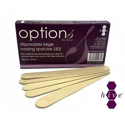 Options Pro Satin Smooth Waxing Spatulas Wooden Wax Applicators (100pk)
