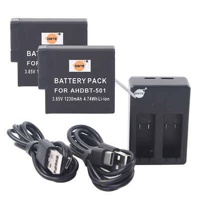 DSTE 2x AHDBT-501 Battery with Dual USB Charger for GoPro Hero5 Hero7 Black